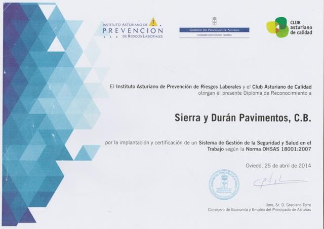 Diploma, Sierra y Durán, PRL