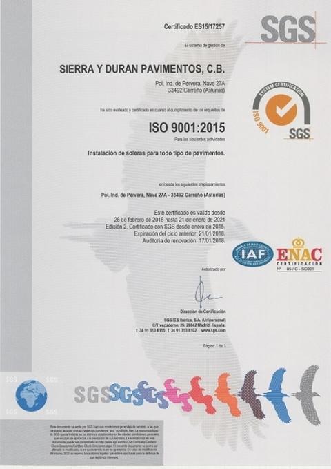 Sierra y Duran - Sistema de Gestión de Calidad ISO 9001:2008 - Sierra y Durán Pavimentos